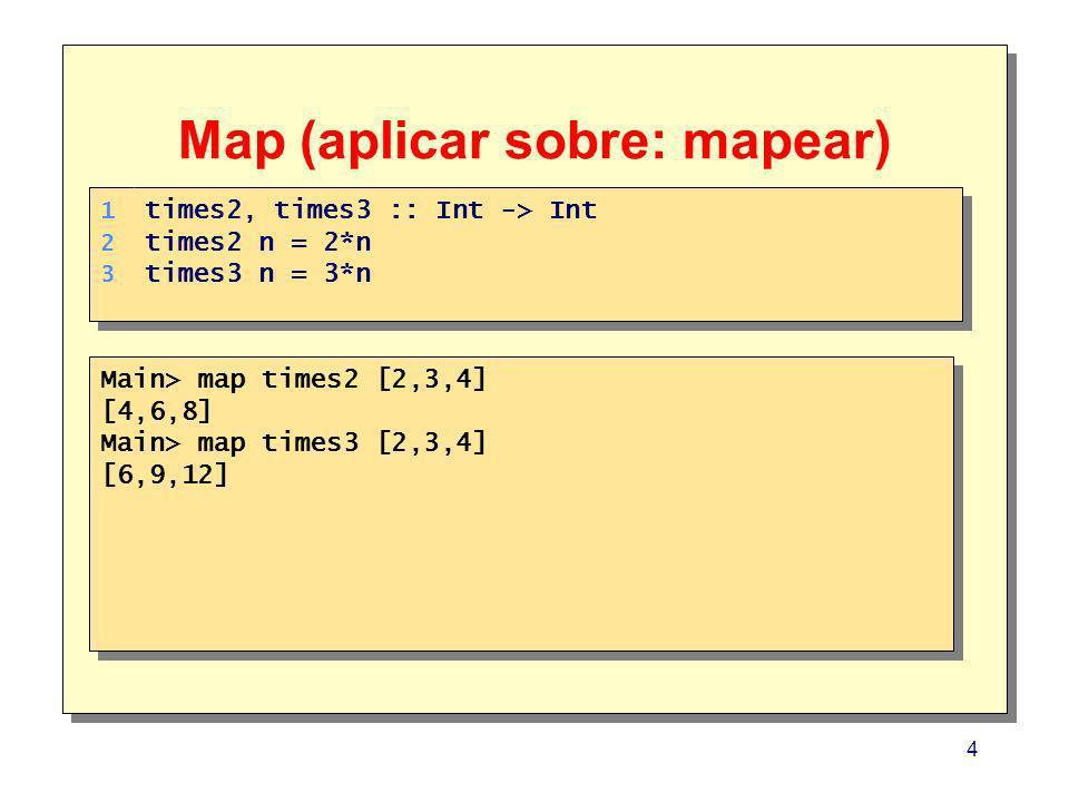 4 Map (aplicar sobre: mapear) Main> map times2 [2,3,4] [4,6,8] Main> map times3 [2,3,4] [6,9,12] Main> map times2 [2,3,4] [4,6,8] Main> map times3 [2,