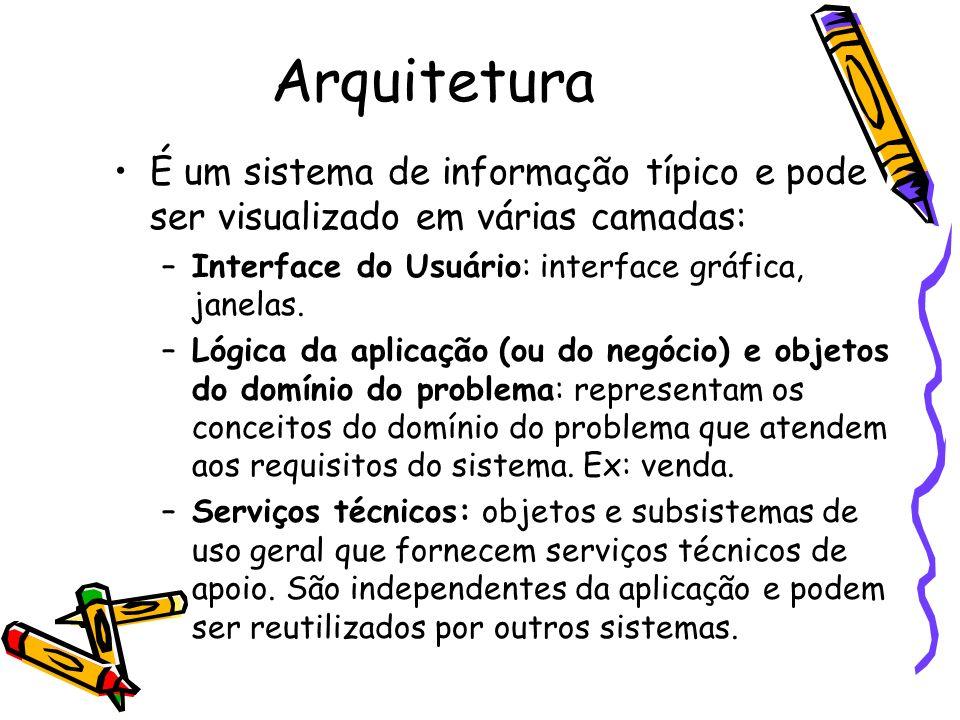 Arquitetura É um sistema de informação típico e pode ser visualizado em várias camadas: –Interface do Usuário: interface gráfica, janelas. –Lógica da