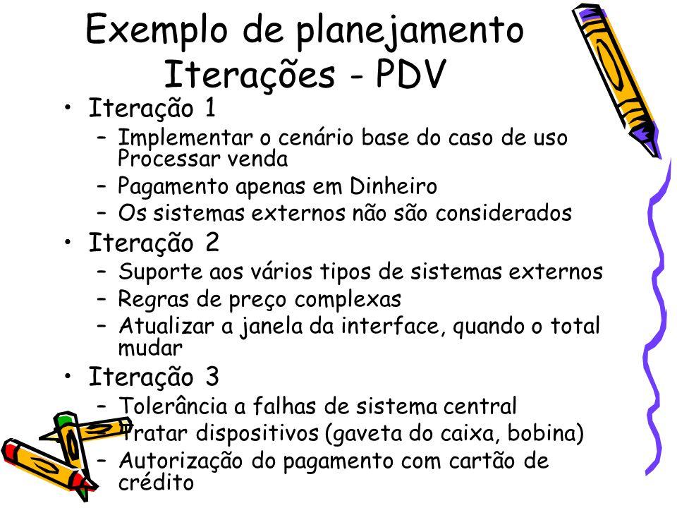 Exemplo de planejamento Iterações - PDV Iteração 1 –Implementar o cenário base do caso de uso Processar venda –Pagamento apenas em Dinheiro –Os sistem