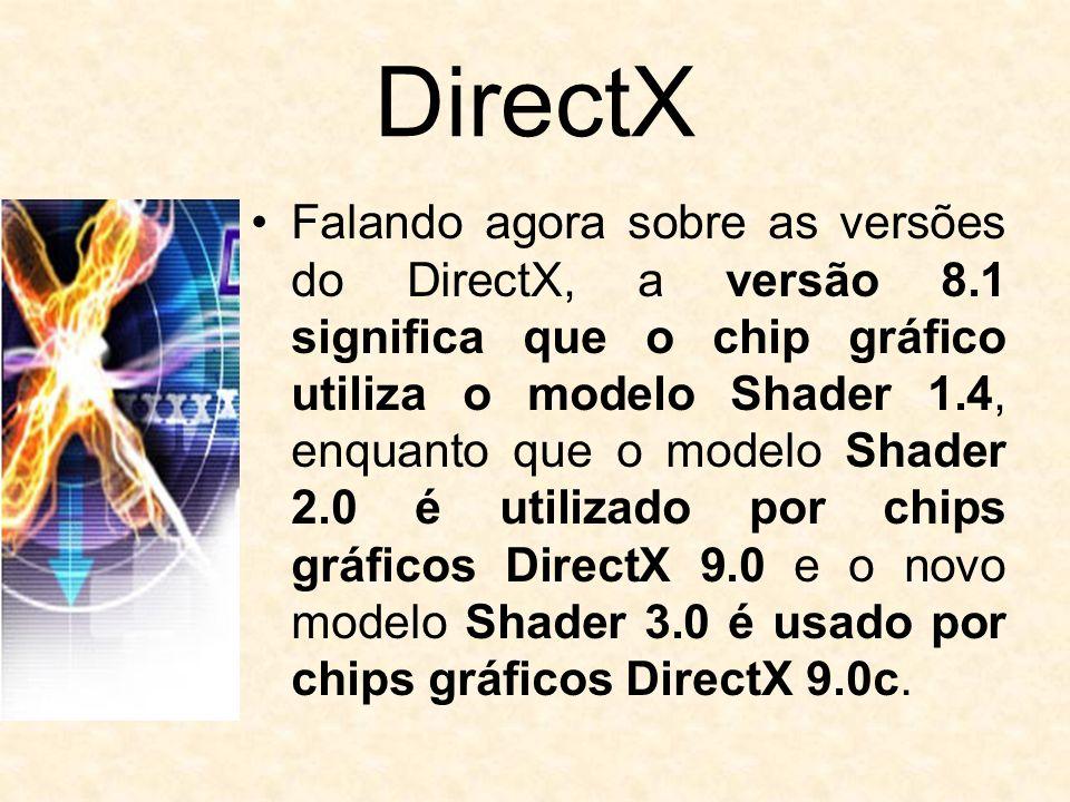 DirectX Falando agora sobre as versões do DirectX, a versão 8.1 significa que o chip gráfico utiliza o modelo Shader 1.4, enquanto que o modelo Shader