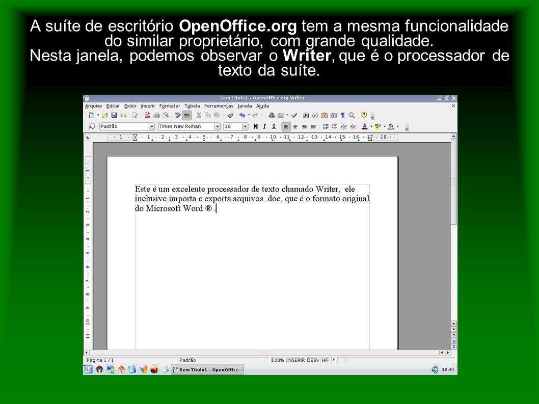 A suíte de escritório OpenOffice.org tem a mesma funcionalidade do similar proprietário, com grande qualidade. Nesta janela, podemos observar o Writer