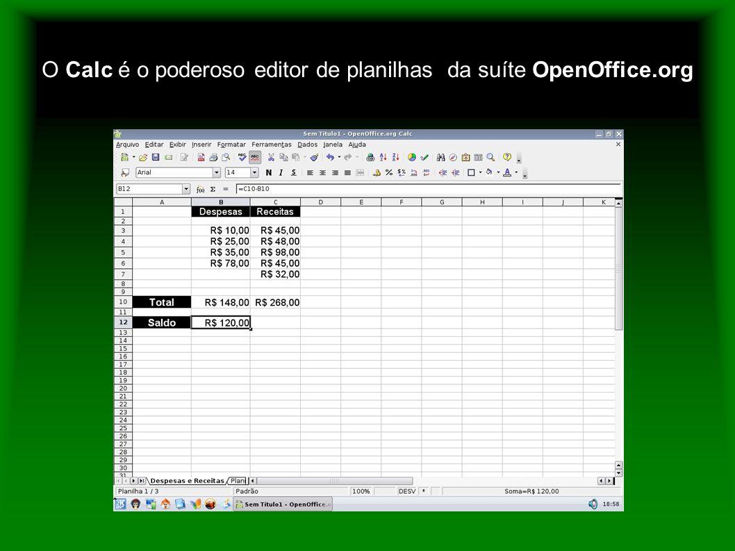 O Calc é o poderoso editor de planilhas da suíte OpenOffice.org
