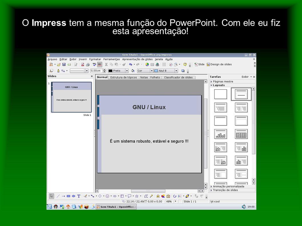 O Impress tem a mesma função do PowerPoint. Com ele eu fiz esta apresentação!