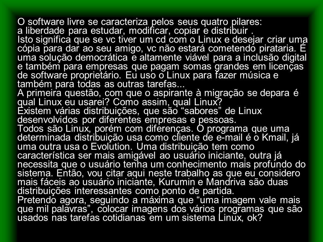 Área de trabalho do Kurumin Linux com gerenciador de janelas KDE, recomenda-se que se tenha no mínimo 128 MB de RAM, porém para rodar o KDE perfeitamente, o ideal é que se tenha 256 MB de RAM.