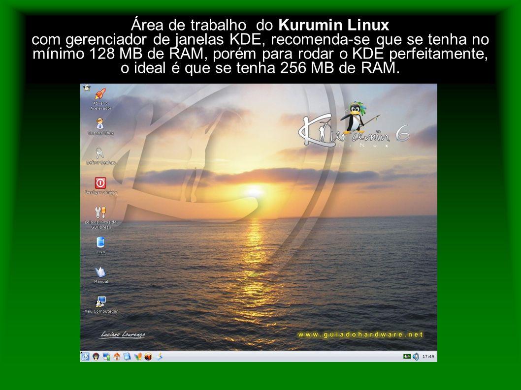 Área de trabalho do Kurumin Linux com gerenciador de janelas KDE, recomenda-se que se tenha no mínimo 128 MB de RAM, porém para rodar o KDE perfeitame