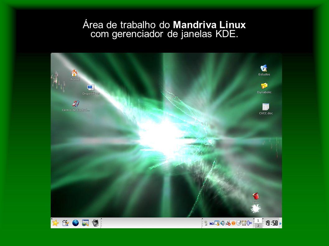 Área de trabalho do Mandriva Linux com gerenciador de janelas KDE.