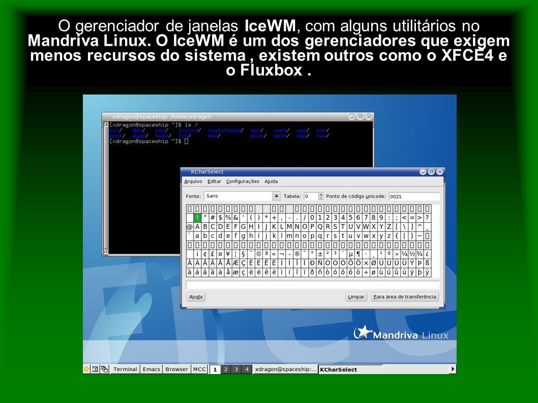 O gerenciador de janelas IceWM, com alguns utilitários no Mandriva Linux. O IceWM é um dos gerenciadores que exigem menos recursos do sistema, existem