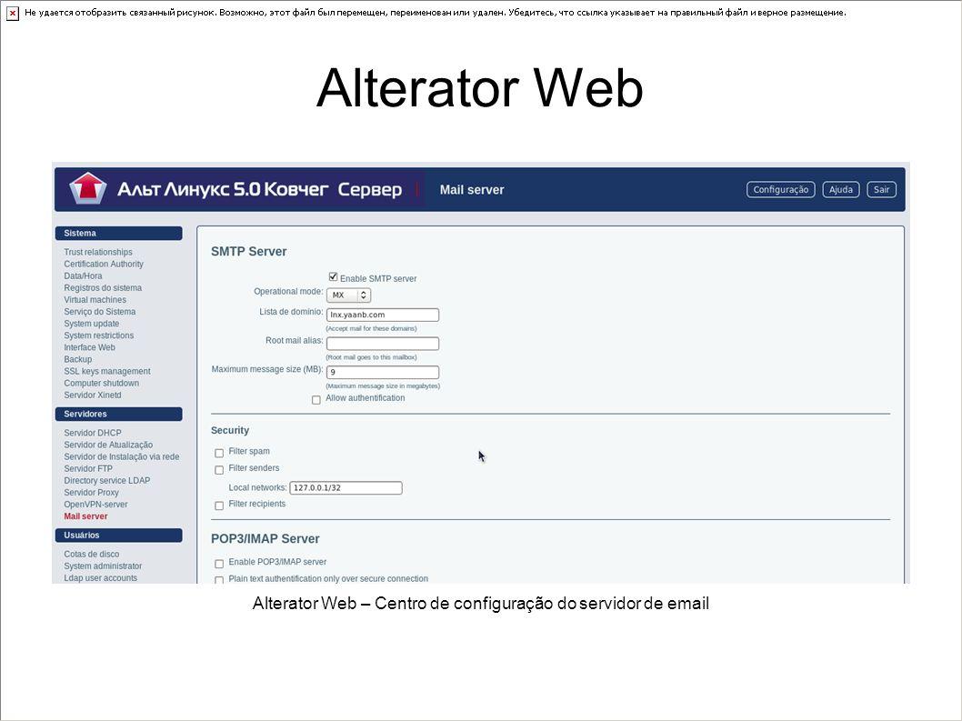 Alterator Web – Centro de configuração do servidor de email Alterator Web