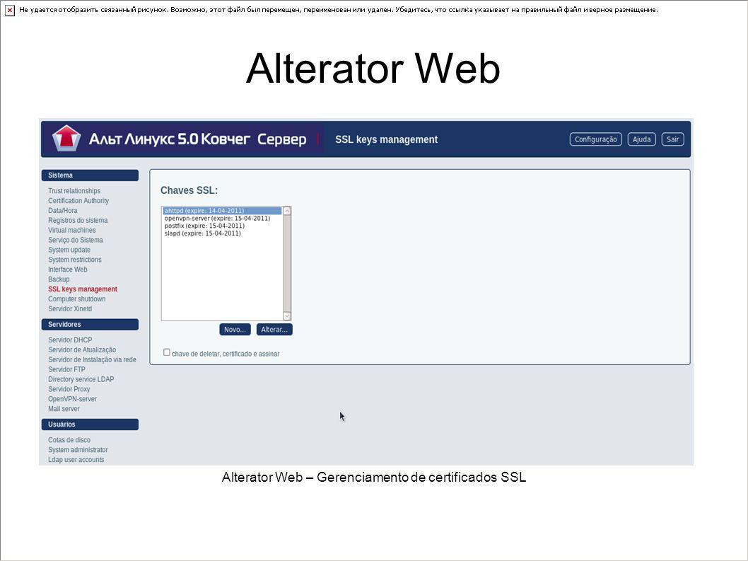 Alterator Web – Gerenciamento de certificados SSL
