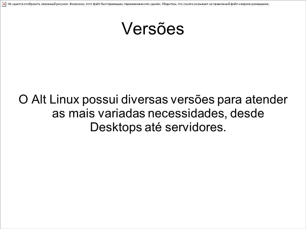 Versões O Alt Linux possui diversas versões para atender as mais variadas necessidades, desde Desktops até servidores.