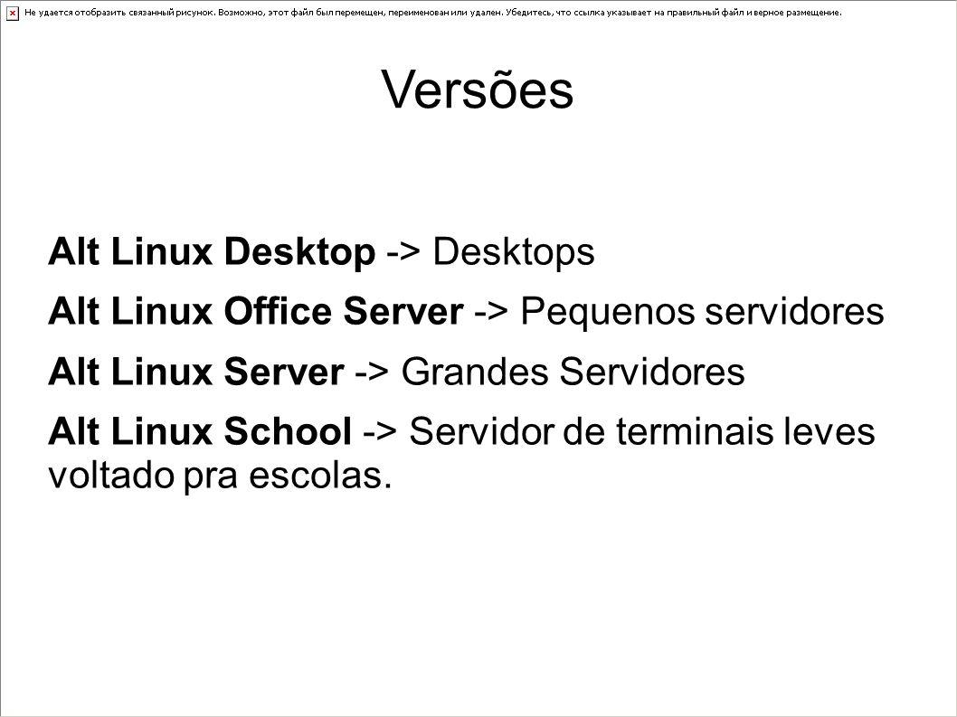 Versões Alt Linux Desktop -> Desktops Alt Linux Office Server -> Pequenos servidores Alt Linux Server -> Grandes Servidores Alt Linux School -> Servid