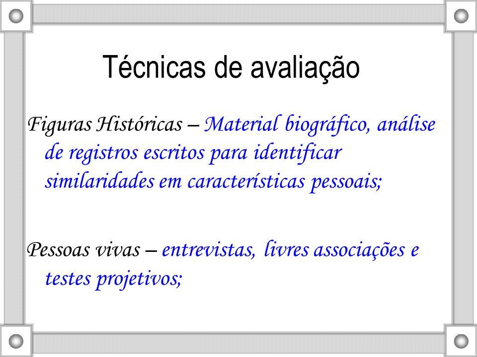 Técnicas de avaliação Figuras Históricas – Material biográfico, análise de registros escritos para identificar similaridades em características pessoa