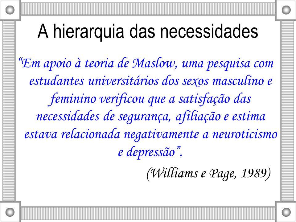 A hierarquia das necessidades Em apoio à teoria de Maslow, uma pesquisa com estudantes universitários dos sexos masculino e feminino verificou que a s