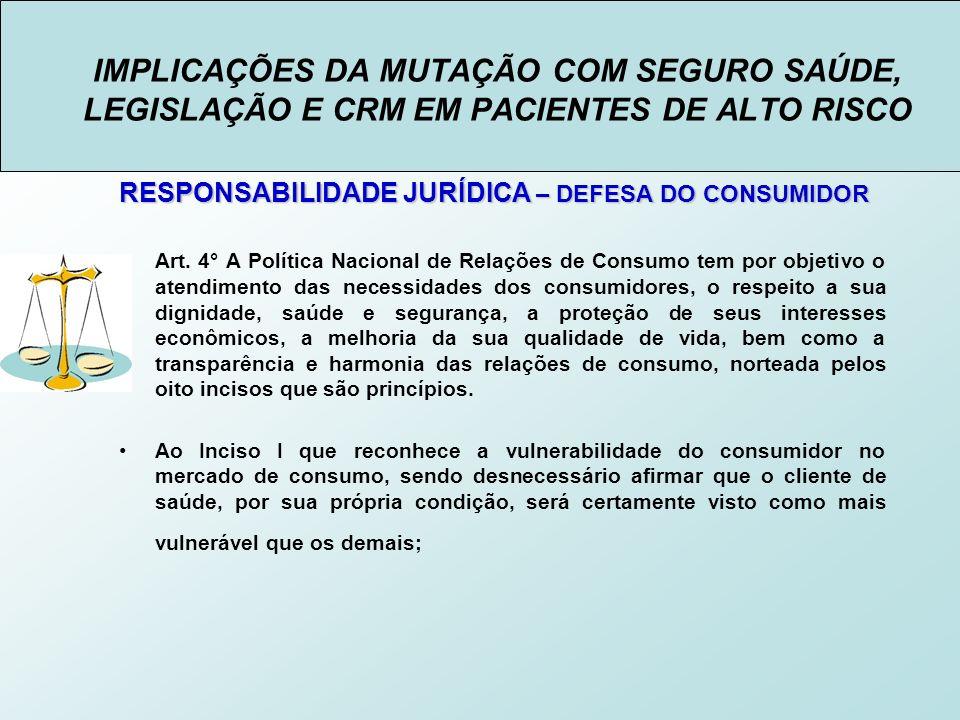 IMPLICAÇÕES DA MUTAÇÃO COM SEGURO SAÚDE, LEGISLAÇÃO E CRM EM PACIENTES DE ALTO RISCO RESPONSABILIDADE JURÍDICA – DEFESA DO CONSUMIDOR Art.