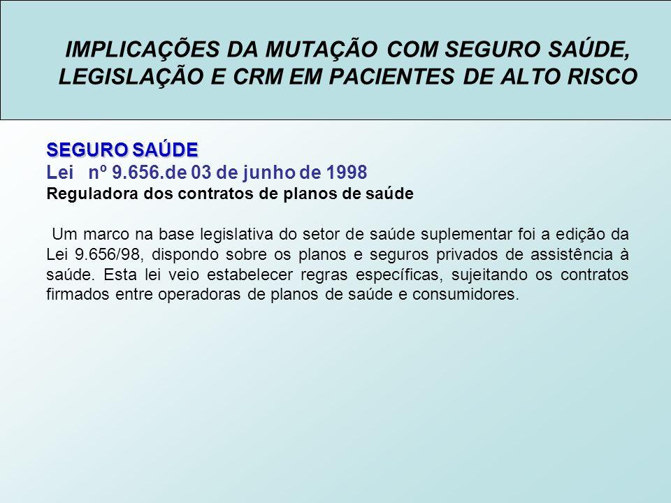 IMPLICAÇÕES DA MUTAÇÃO COM SEGURO SAÚDE, LEGISLAÇÃO E CRM EM PACIENTES DE ALTO RISCO SEGURO SAÚDE Lei nº 9.656.de 03 de junho de 1998 Art.