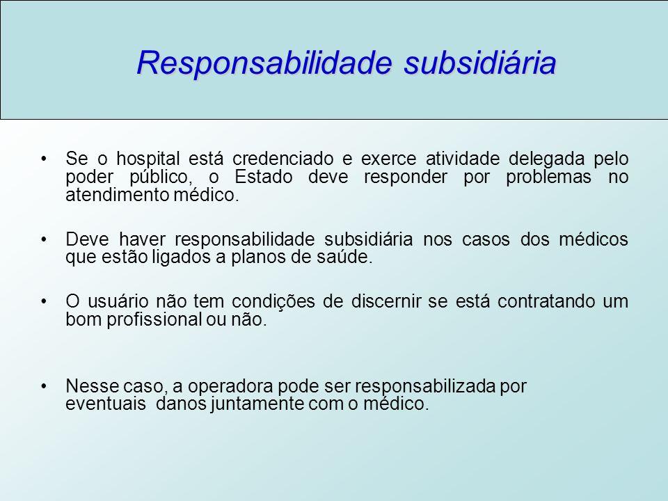 Responsabilidade subsidiária Se o hospital está credenciado e exerce atividade delegada pelo poder público, o Estado deve responder por problemas no atendimento médico.