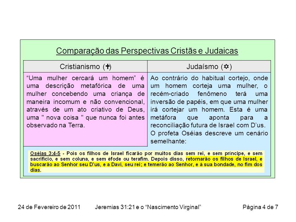 Comparação das Perspectivas Cristãs e Judaicas Cristianismo ( )Judaísmo ( ) Uma mulher cercará um homem é uma descrição metafórica de uma mulher conce