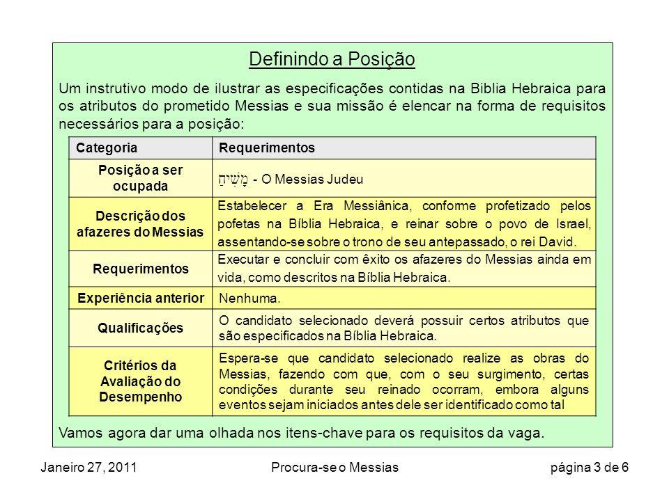 Janeiro 27, 2011Procura-se o Messias página 4 de 6 מָשִׁיחַ ( pela Biblia Hebraica) Jesus (pelo Novo Testamento) Pts* Não necessária para posição uma vez que nunca teve experiência anterior * Indica se os relatos do Novo Testamento estão em conformidade com as especificações da Bíblia hebraica.