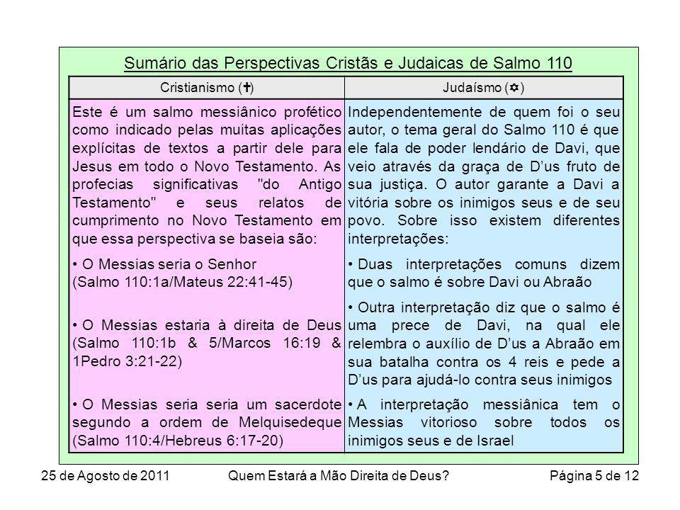 Sumário das Perspectivas Cristãs e Judaicas de Salmo 110 Cristianismo ( )Judaísmo ( ) Este é um salmo messiânico profético como indicado pelas muitas