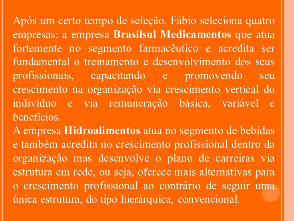 Após um certo tempo de seleção, Fábio seleciona quatro empresas: a empresa Brasilsul Medicamentos que atua fortemente no segmento farmacêutico e acred