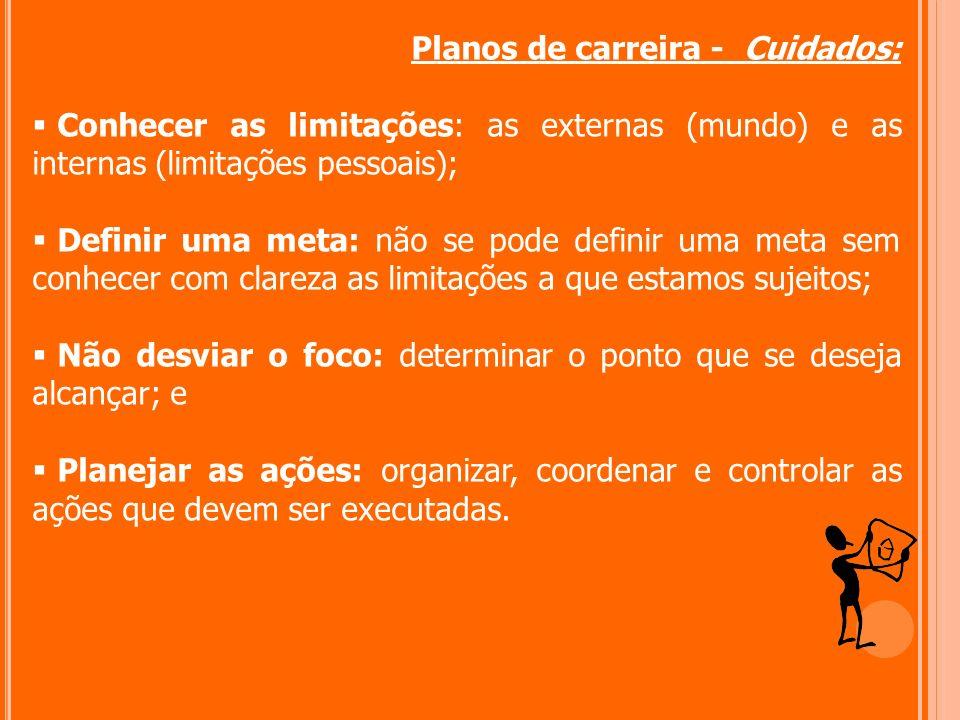 Planos de carreira - Cuidados: Conhecer as limitações: as externas (mundo) e as internas (limitações pessoais); Definir uma meta: não se pode definir