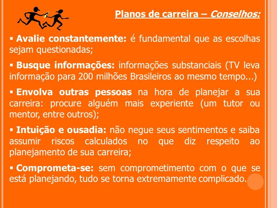 Planos de carreira – Conselhos: Avalie constantemente: é fundamental que as escolhas sejam questionadas; Busque informações: informações substanciais