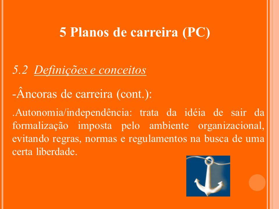 5 Planos de carreira (PC) 5.2 Definições e conceitos -Âncoras de carreira (cont.):.Autonomia/independência: trata da idéia de sair da formalização imp