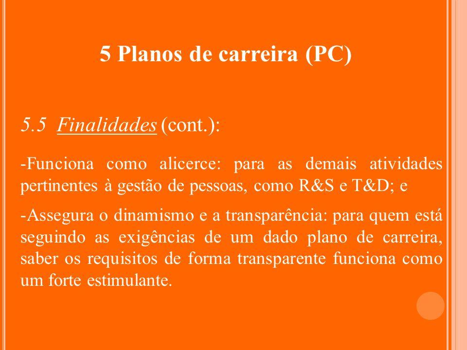 5 Planos de carreira (PC) 5.5 Finalidades (cont.): -Funciona como alicerce: para as demais atividades pertinentes à gestão de pessoas, como R&S e T&D;