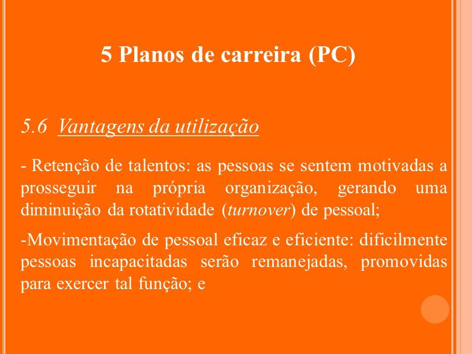 5 Planos de carreira (PC) 5.6 Vantagens da utilização - Retenção de talentos: as pessoas se sentem motivadas a prosseguir na própria organização, gera