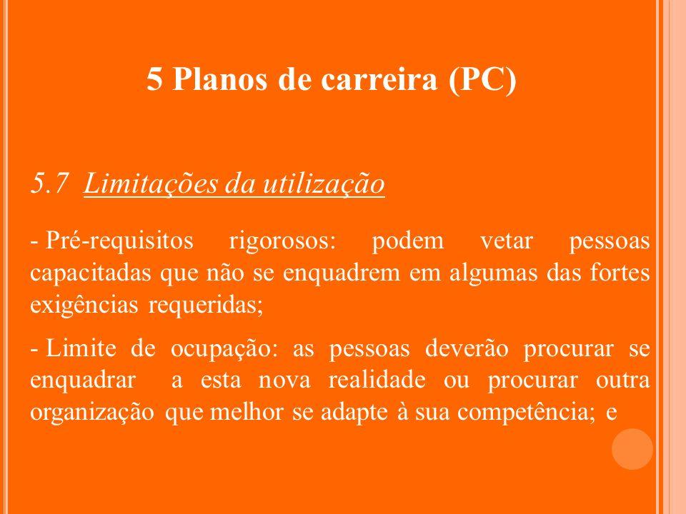 5 Planos de carreira (PC) 5.7 Limitações da utilização - Pré-requisitos rigorosos: podem vetar pessoas capacitadas que não se enquadrem em algumas das