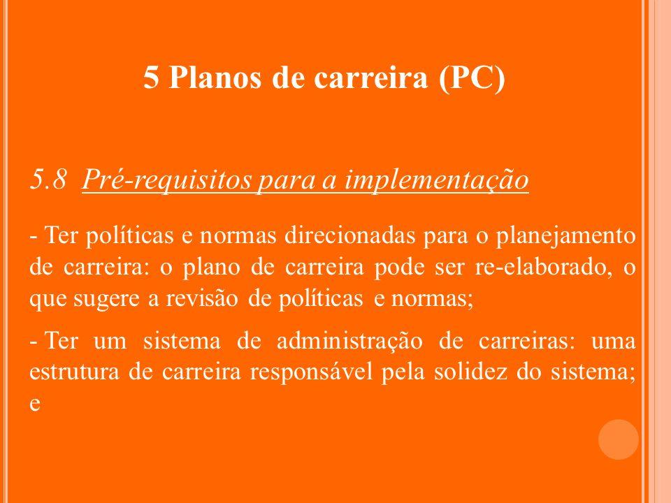 5 Planos de carreira (PC) 5.8 Pré-requisitos para a implementação - Ter políticas e normas direcionadas para o planejamento de carreira: o plano de ca