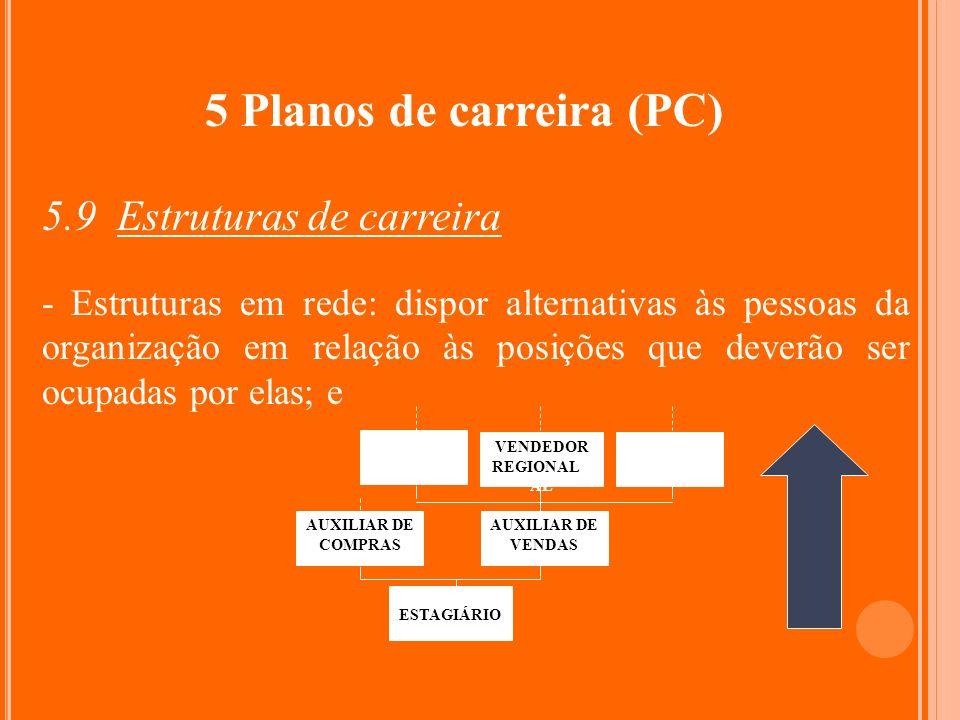 5 Planos de carreira (PC) 5.9 Estruturas de carreira - Estruturas em rede: dispor alternativas às pessoas da organização em relação às posições que de