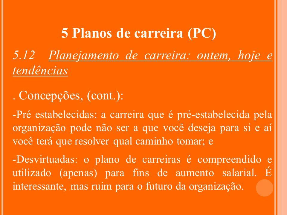 5 Planos de carreira (PC) 5.12 Planejamento de carreira: ontem, hoje e tendências. Concepções, (cont.): -Pré estabelecidas: a carreira que é pré-estab