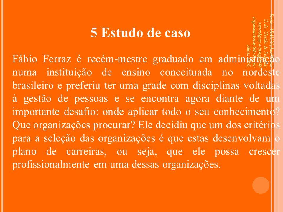 Fonte: ARAUJO, Luis César G. de. Gestão de Pessoas; estratégias e integração organizacional São Paulo: Atlas, 2006. 5 Estudo de caso Fábio Ferraz é re