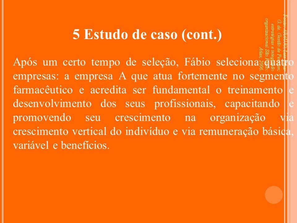 Fonte: ARAUJO, Luis César G. de. Gestão de Pessoas; estratégias e integração organizacional São Paulo: Atlas, 2006. 5 Estudo de caso (cont.) Após um c