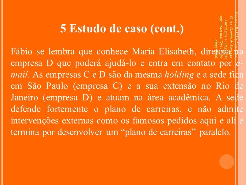 Fonte: ARAUJO, Luis César G. de. Gestão de Pessoas; estratégias e integração organizacional São Paulo: Atlas, 2006. 5 Estudo de caso (cont.) Fábio se