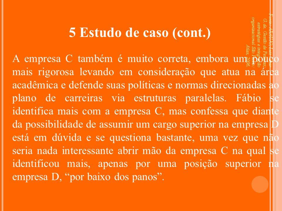 Fonte: ARAUJO, Luis César G. de. Gestão de Pessoas; estratégias e integração organizacional São Paulo: Atlas, 2006. 5 Estudo de caso (cont.) A empresa