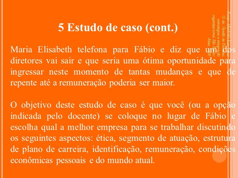 Fonte: ARAUJO, Luis César G. de. Gestão de Pessoas; estratégias e integração organizacional São Paulo: Atlas, 2006. 5 Estudo de caso (cont.) Maria Eli