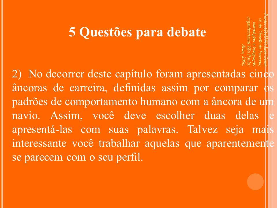Fonte: ARAUJO, Luis César G. de. Gestão de Pessoas; estratégias e integração organizacional São Paulo: Atlas, 2006. 5 Questões para debate 2) No decor