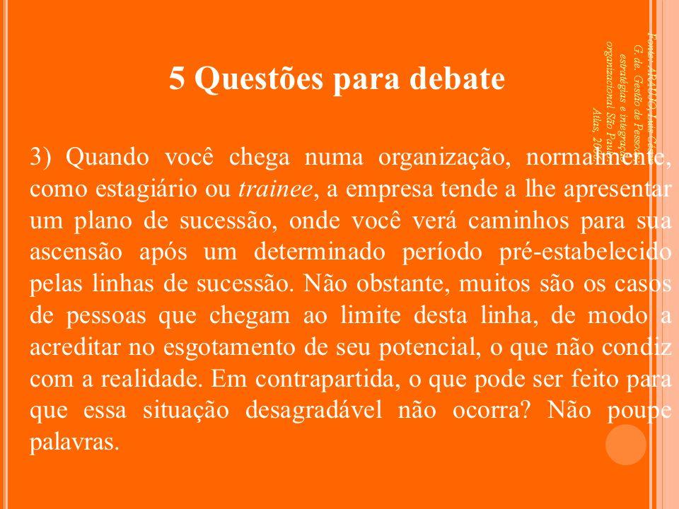 Fonte: ARAUJO, Luis César G. de. Gestão de Pessoas; estratégias e integração organizacional São Paulo: Atlas, 2006. 5 Questões para debate 3) Quando v