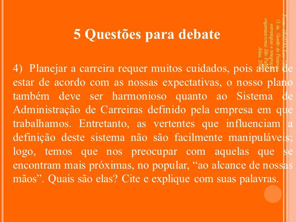 Fonte: ARAUJO, Luis César G. de. Gestão de Pessoas; estratégias e integração organizacional São Paulo: Atlas, 2006. 5 Questões para debate 4) Planejar
