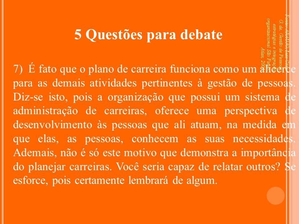Fonte: ARAUJO, Luis César G. de. Gestão de Pessoas; estratégias e integração organizacional São Paulo: Atlas, 2006. 5 Questões para debate 7) É fato q