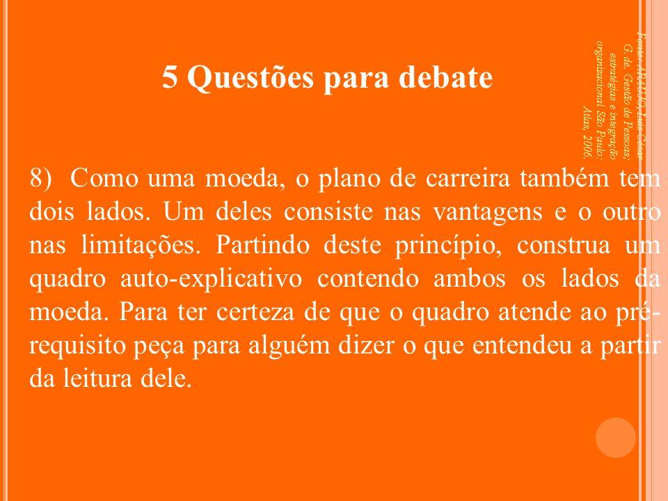 Fonte: ARAUJO, Luis César G. de. Gestão de Pessoas; estratégias e integração organizacional São Paulo: Atlas, 2006. 5 Questões para debate 8) Como uma