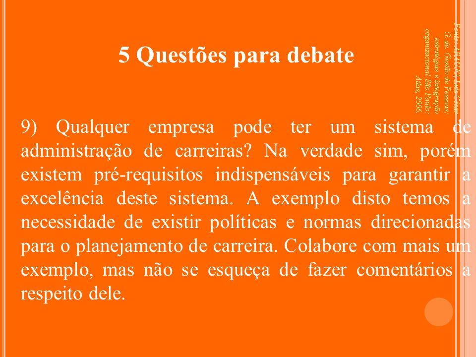 Fonte: ARAUJO, Luis César G. de. Gestão de Pessoas; estratégias e integração organizacional São Paulo: Atlas, 2006. 5 Questões para debate 9) Qualquer