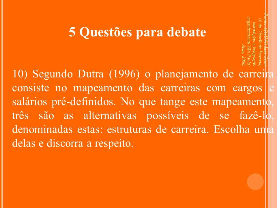 Fonte: ARAUJO, Luis César G. de. Gestão de Pessoas; estratégias e integração organizacional São Paulo: Atlas, 2006. 5 Questões para debate 10) Segundo