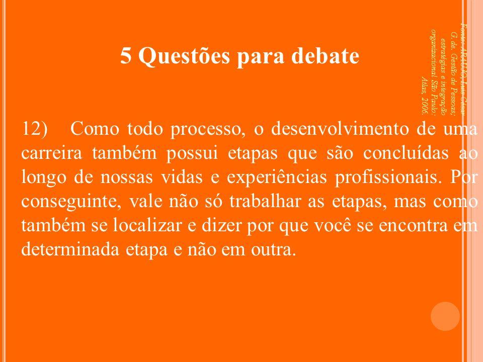 Fonte: ARAUJO, Luis César G. de. Gestão de Pessoas; estratégias e integração organizacional São Paulo: Atlas, 2006. 5 Questões para debate 12) Como to
