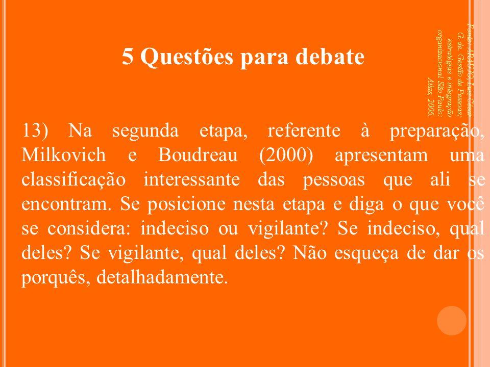 Fonte: ARAUJO, Luis César G. de. Gestão de Pessoas; estratégias e integração organizacional São Paulo: Atlas, 2006. 5 Questões para debate 13) Na segu