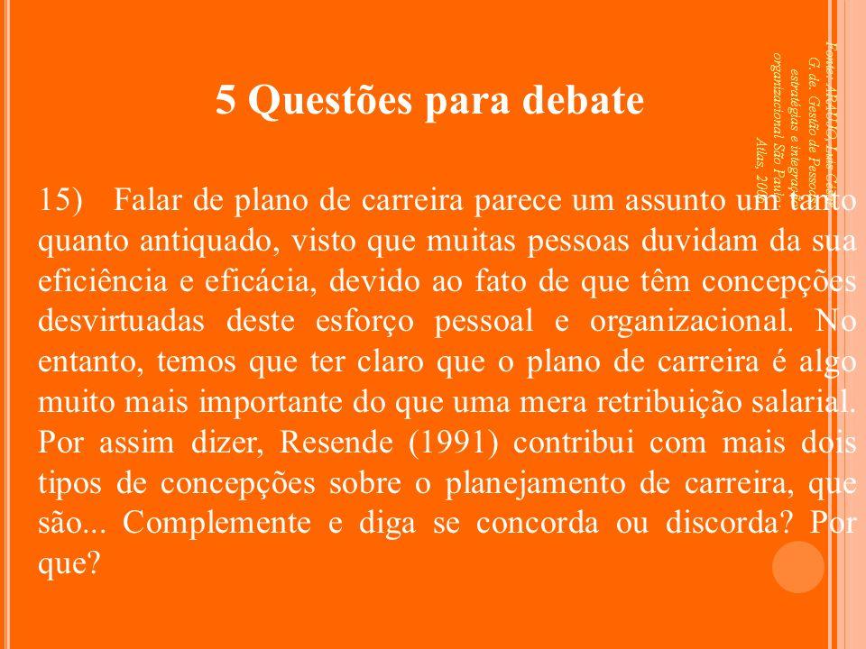 Fonte: ARAUJO, Luis César G. de. Gestão de Pessoas; estratégias e integração organizacional São Paulo: Atlas, 2006. 5 Questões para debate 15) Falar d