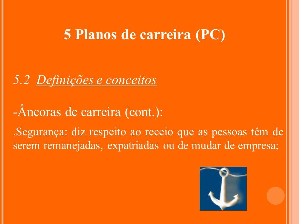 5 Planos de carreira (PC) 5.2 Definições e conceitos -Âncoras de carreira (cont.):.Segurança: diz respeito ao receio que as pessoas têm de serem reman