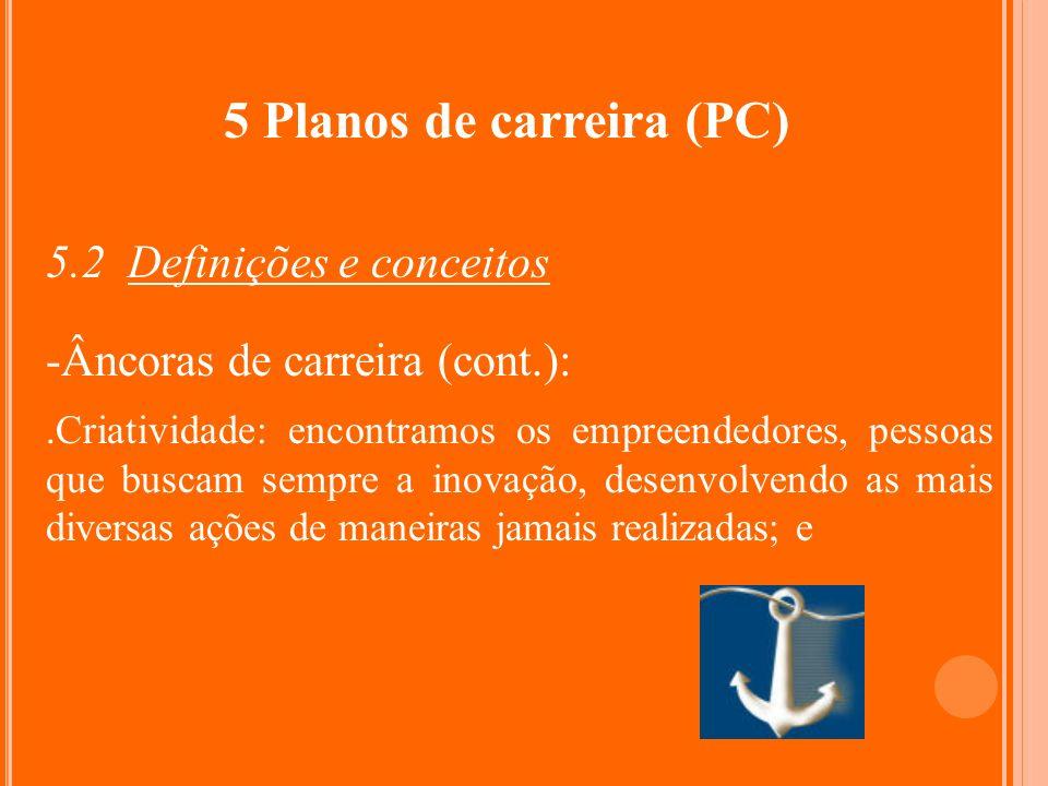 5 Planos de carreira (PC) 5.2 Definições e conceitos -Âncoras de carreira (cont.):.Criatividade: encontramos os empreendedores, pessoas que buscam sem